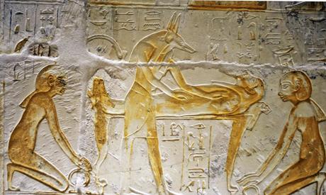 Resurrection scene from the tomb of Maya in Saqqara. XIX Dynasty. Ancient Egypt