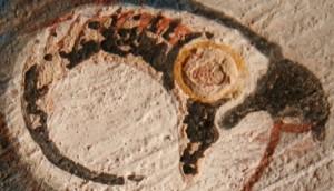 Detail of the eye of Horus from the tomb of Roy. XIX Dynasty. Ancient Egypt. Photo Mª Rosa Valdesogo