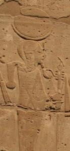 Khonsu in the funerary temple of Seti I. XIX Dynasty. Ancient Egypt. Photo Mª Rosa Valdesogo